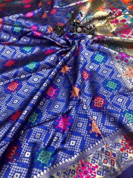 Royal Blue Soft Banarasi silk saree
