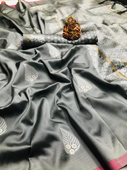 Silver Colored Soft Lichi Silk Saree with Silver and Gold Zari - gnp009675