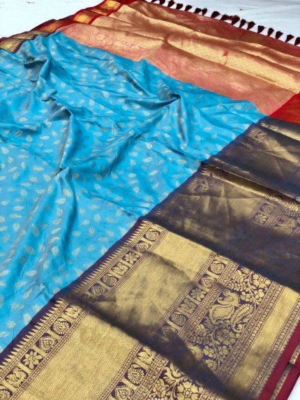 sky Blue kanchipuram silk saree