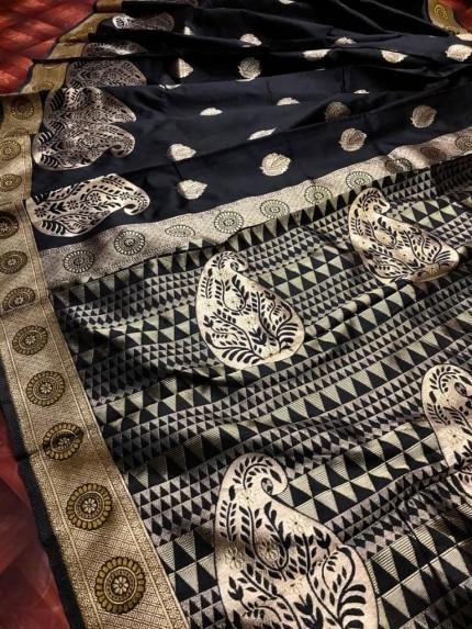 Soft Banarasi Silk Saree in Black