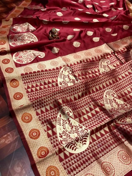 Soft Banarasi Silk Saree in Maroon