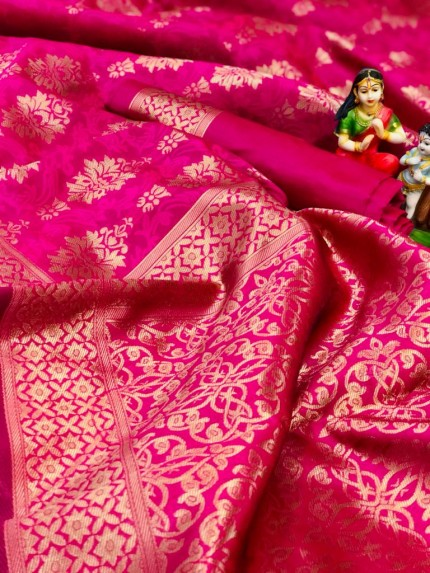 Soft Banarasi Silk Saree in Pink