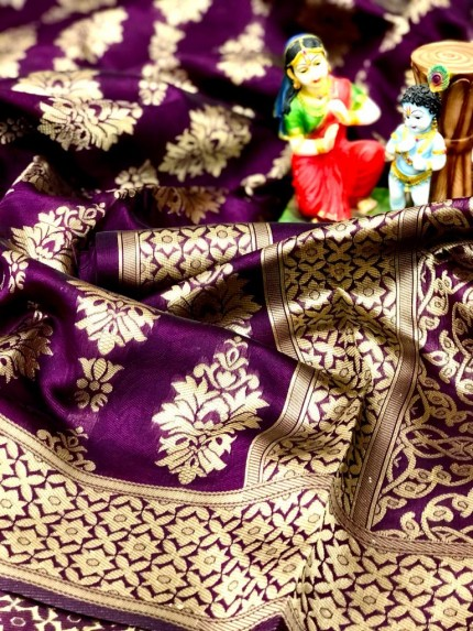 Soft Banarasi Silk Saree in Purple gnp0107211