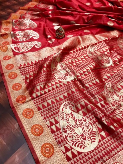 Soft Banarasi Silk Saree in Red