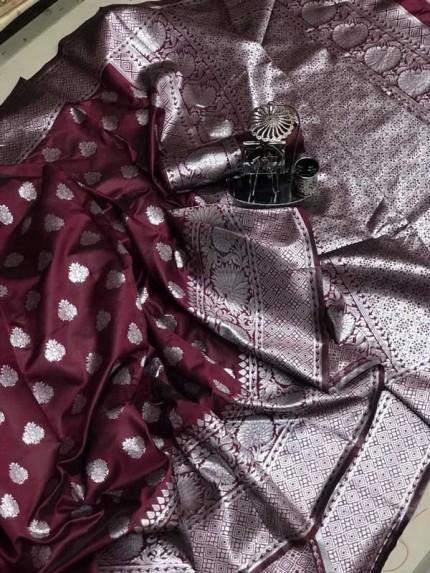 Soft Banarasi silk saree with weaving silver zari weaving Rich Pallu (Brown) gnp007097
