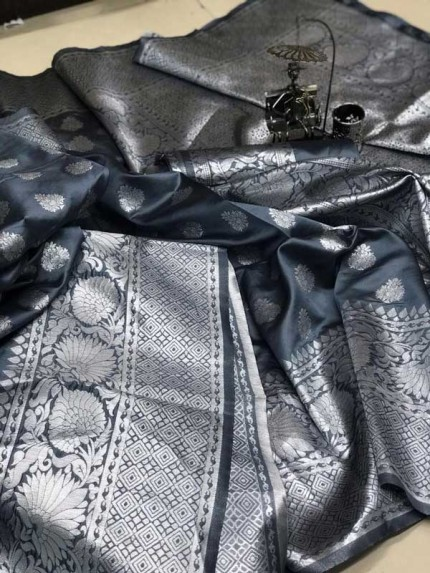 Soft Banarasi silk saree with weaving silver zari weaving Rich Pallu (Grey) gnp007095