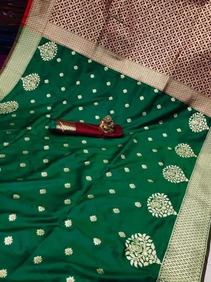 Soft Banarasi soft Silk Saree in Green gnp0107345 | new design saree