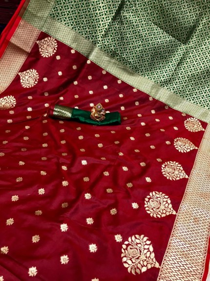 Soft Banarasi soft Silk Saree in maroon grabandpack
