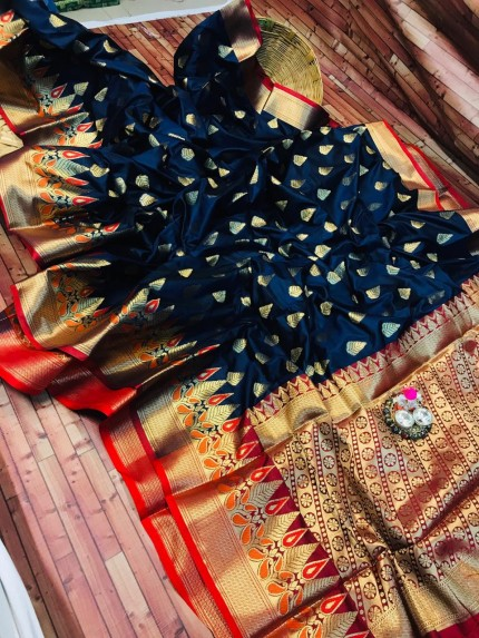 Blue coloured soft silk woven saree grabandpack