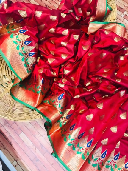grabandpack Red coloured soft silk woven saree