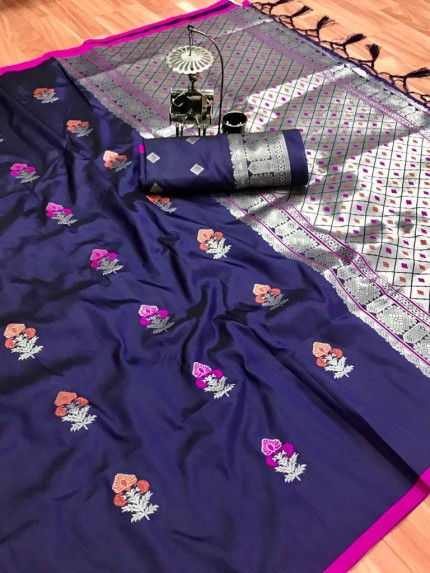 lichi silk weaving jacquard saree in Blue grabandpack