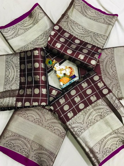 Soft Lichi silk saree in Brown