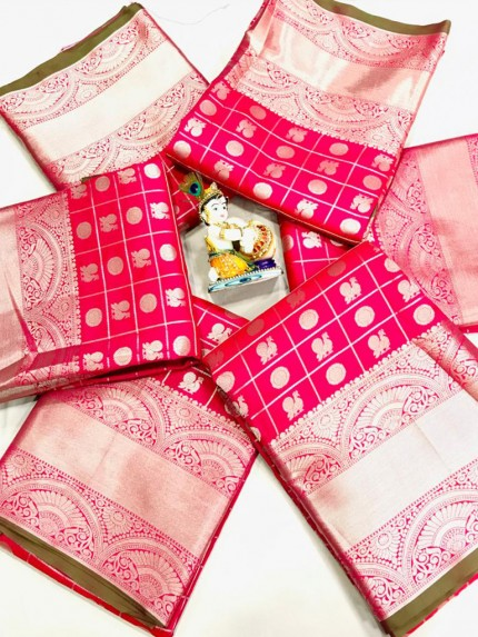 Pink Soft Lichi silk saree