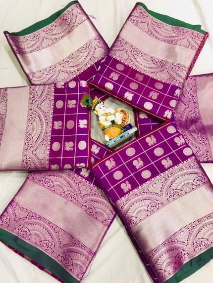Soft Lichi silk saree in Purple