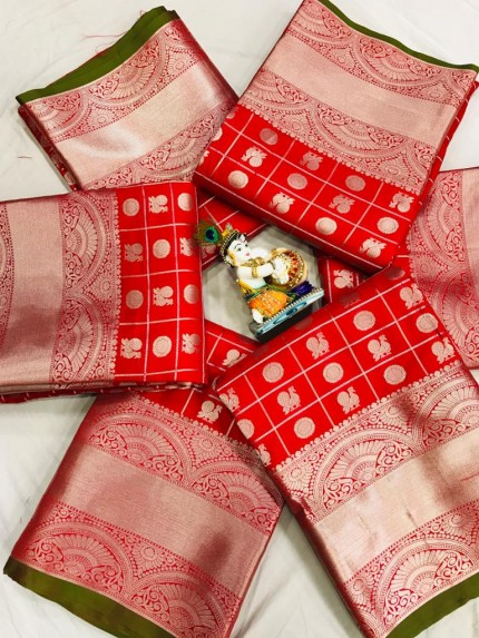 Red Soft Lichi silk saree