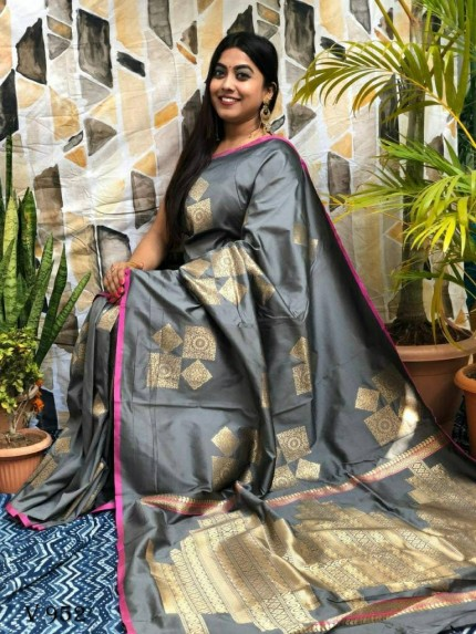 Soft silk Geometric Printed Saree in Grey