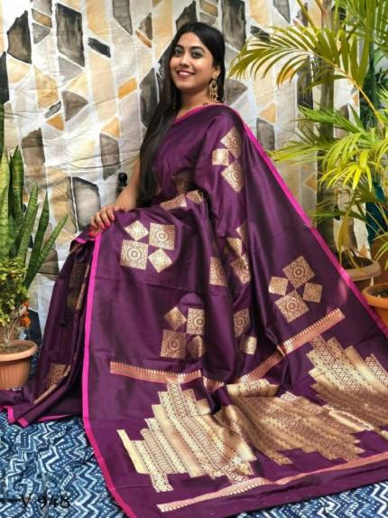 Soft silk Geometric Printed Saree in Purple