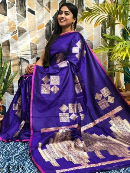 silver zari silk Purple saree