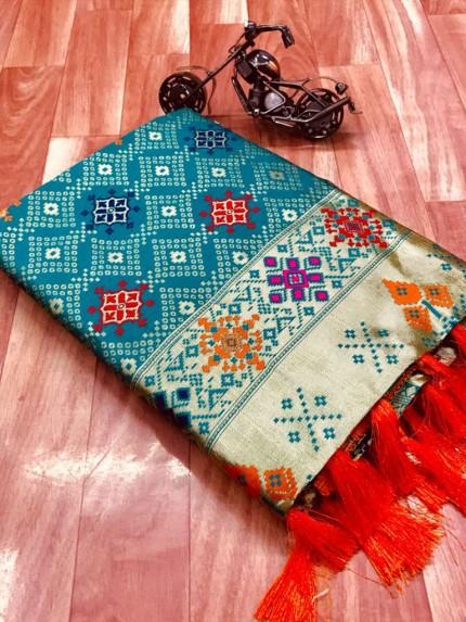 Sea Blue Soft Banarasi silk saree grabandpack