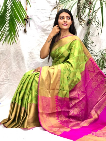 south indian blouse design in Green