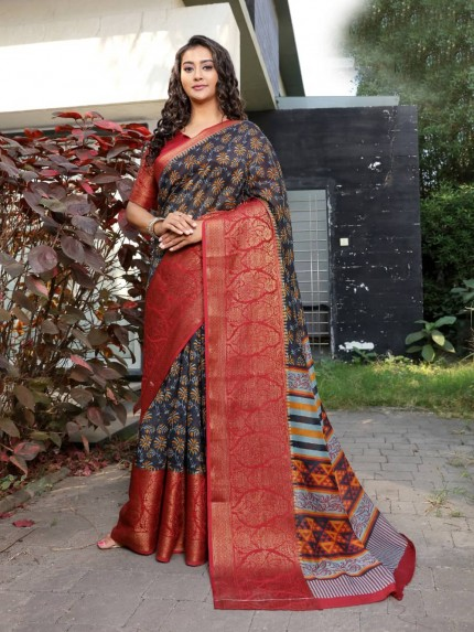 SR Branded Printed cotton silk saree from grabandpack