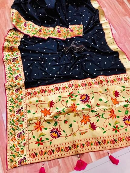 grabandpack Stunning Black Paithani Soft Silk saree