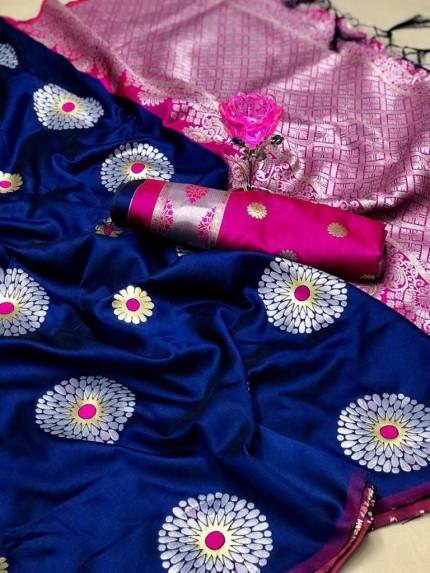 GrabandPack Blue Lichi Silk Weaving Jacquard Saree
