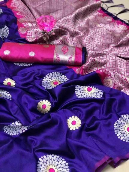 Blue Lichi Silk Weaving Jacquard Saree at grabandpack