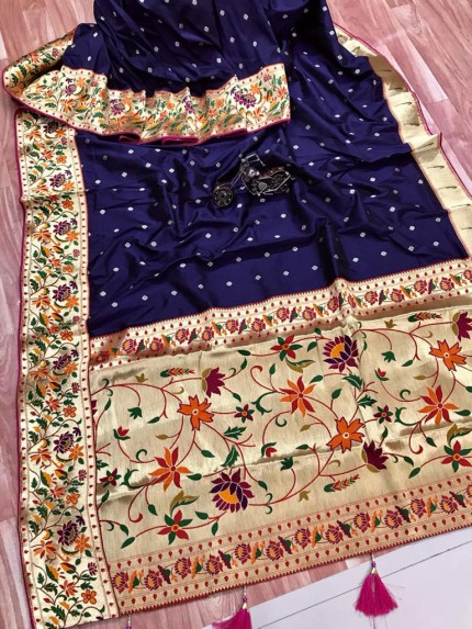 grabandpack Stunning Blue Paithani Soft Silk saree