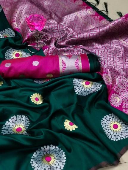 GrabandPack Green Lichi Silk Weaving Jacquard Saree
