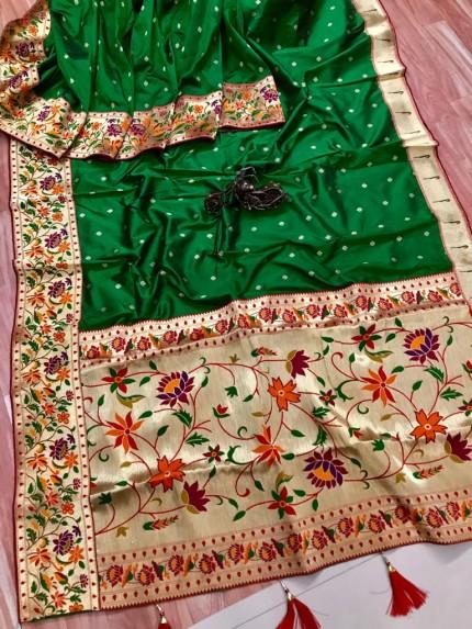 grabandpack Stunning Green Paithani Soft Silk saree