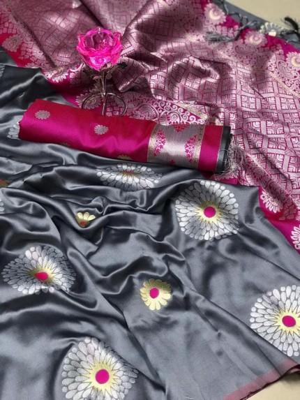 GrabandPack Grey Lichi Silk Weaving Jacquard Saree