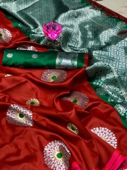 Maroon Lichi Silk Weaving Jacquard Saree at grabandpack
