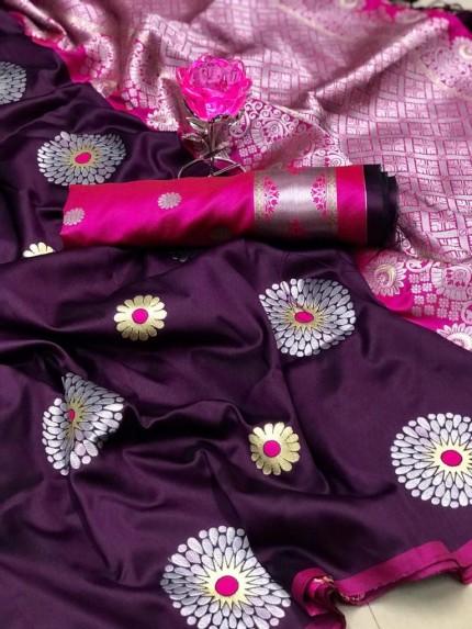 GrabandPack Purple Lichi Silk Weaving Jacquard Saree