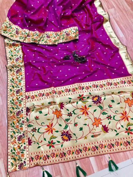 grabandpack Stunning Purple Paithani Soft Silk saree