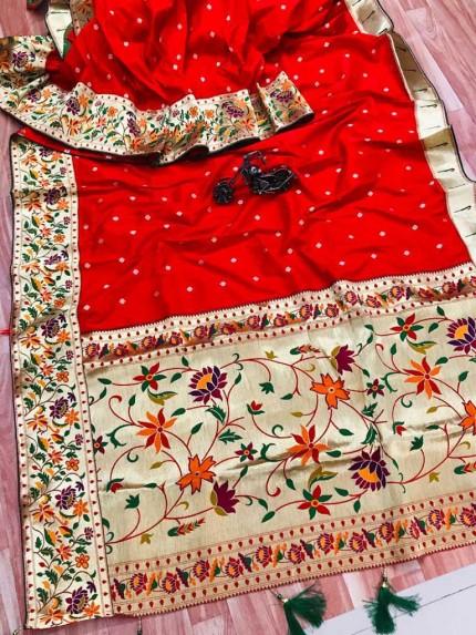 grabandpack Stunning Red Paithani Soft Silk saree
