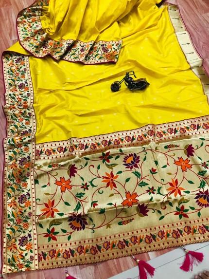 grabandpack Stunning Yellow Paithani Soft Silk saree