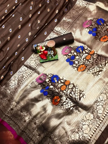 soft silk saree in Brown