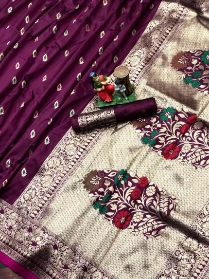 soft silk saree in Purple