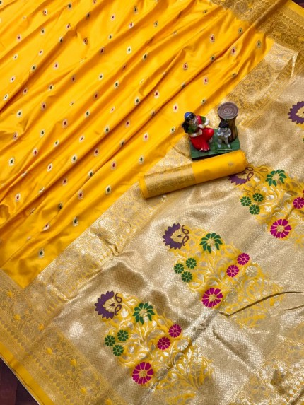banarasi lichi silk saree in yellow