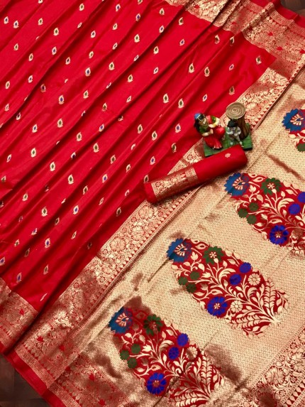 banarasi lichi silk saree in Red