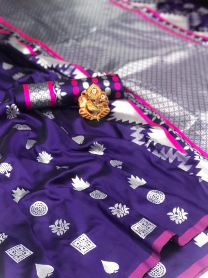 Soft Lichi Silk Saree in Violet