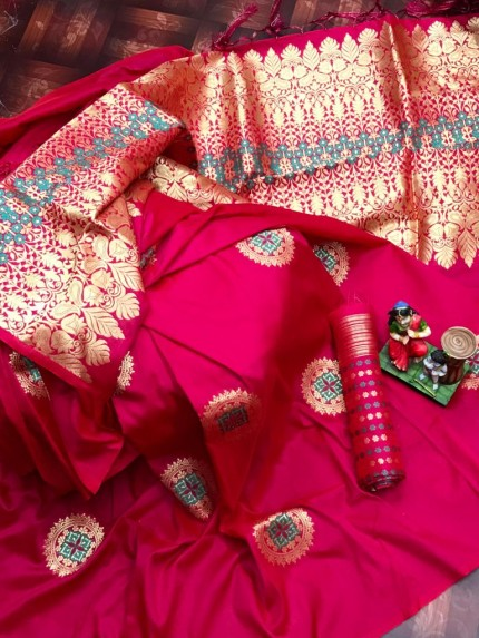 stylish stunning lichi silk saree in Pink