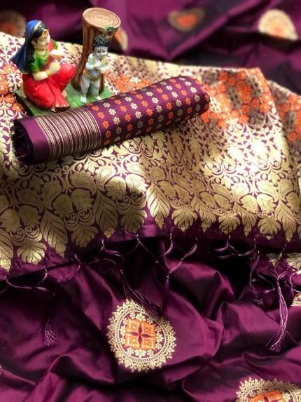 stylish stunning lichi silk saree in Purple