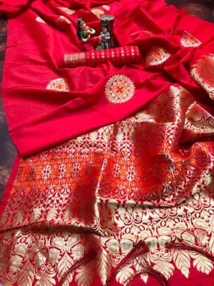 stylish stunning lichi silk saree in Red