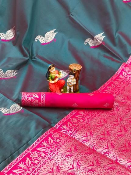 stylish stunning two tone saree in green