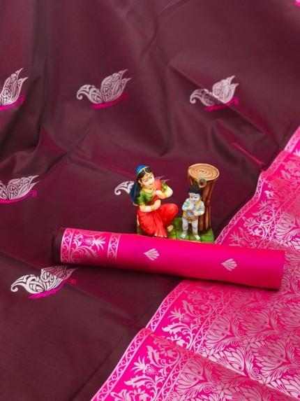 stylish stunning two tone saree in maroon