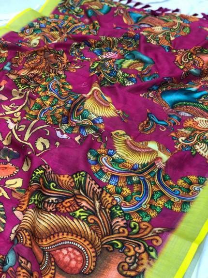 Stylish Women's Kalamkari Linen saree in Pink