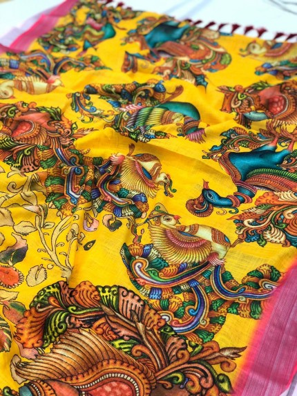 Stylish Women's Kalamkari Linen saree in yellow