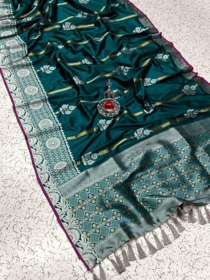 Trendy Green soft silk saree